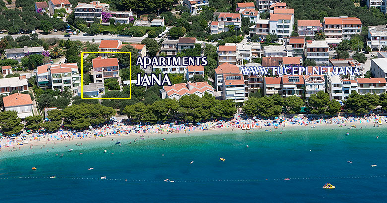 position of apartments jana in Tučepi, aerial, sea side view