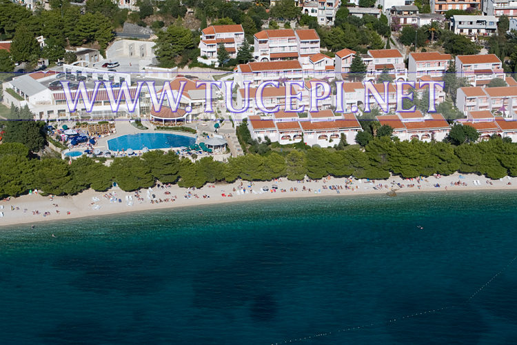 Tučepi beach at hotel Alga and Afrodita from air